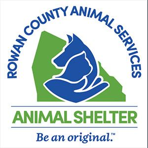 Rowan County Animal Services Logo with county outline and dog, cat, and hand clipart